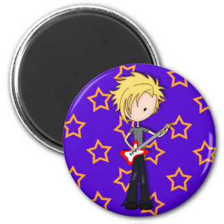 Teen Emo Rock Guitarist Musician with Blonde Hair 6 Cm Round Magnet