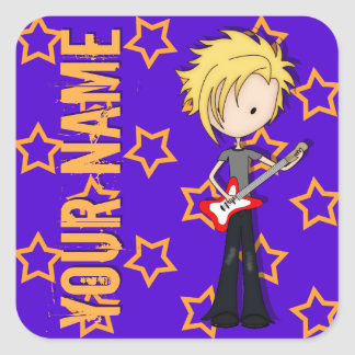 Teen Emo Rock Guitarist Musician with Blonde Hair Stickers