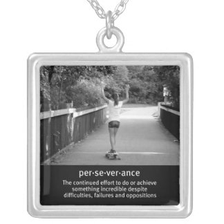 Teen Girl Longboarding Square Pendant Necklace