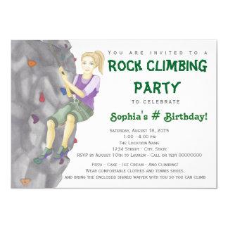 Teen Girl Rock Climbing Birthday Party Invitations