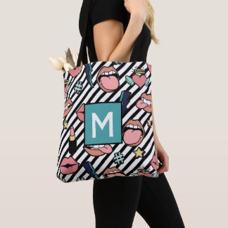 Teen Girls Lips Lipstick Hashtag Hearts Monogram Tote Bag