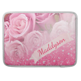 Teen Girls Personalized Sparkly Glitter Rose Sleeve For MacBooks