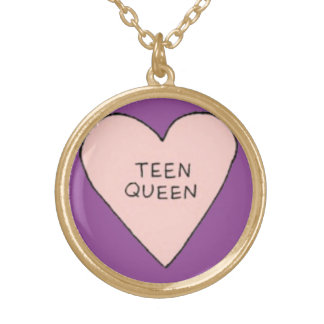 Teen Queen Doodle Art Gold Finish Round Necklace
