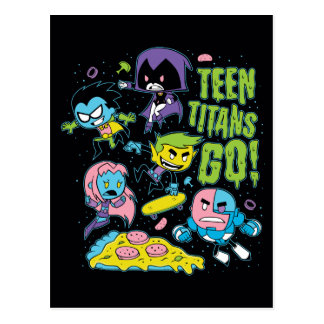 Teen Titans Go! | Gnarly 90's Pizza Graphic Postcard