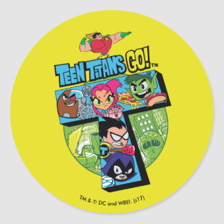 Teen Titans Go! | Titans Tower Collage Classic Round Sticker