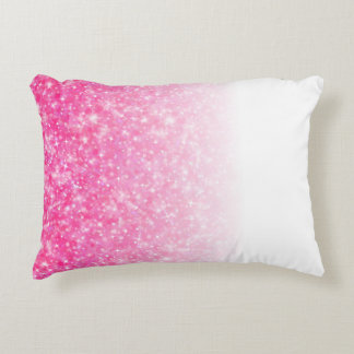 Teen Tween Girls Sparkly Pink Glitter Ombre Decorative Cushion