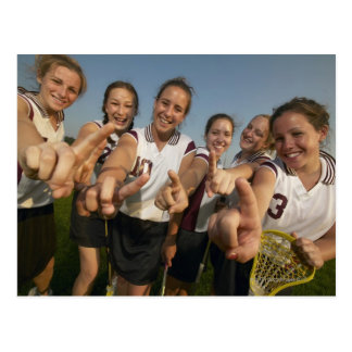 Teenage (16-17) lacrosse team signalling number postcard