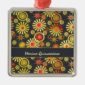 Teenage Birthday Party Quinceañera Silver-Colored Square Decoration