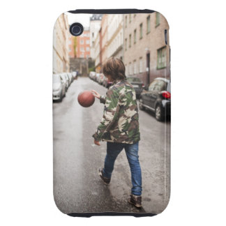 Teenage boy dribbling basketball iPhone 3 tough cases