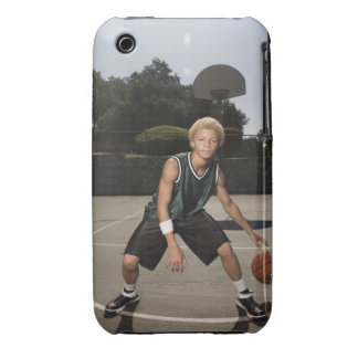 Teenage boy on basketball court iPhone 3 cases