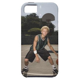 Teenage boy on basketball court iPhone 5 case