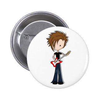 Teenage Emo Boy Rock Guitarist with Brown Hair 6 Cm Round Badge