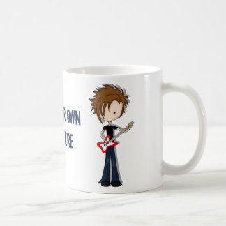 Teenage Emo Boy Rock Guitarist with Brown Hair Basic White Mug
