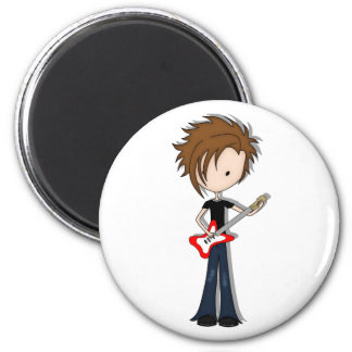 Teenage Emo Boy Rock Guitarist with Brown Hair Magnets