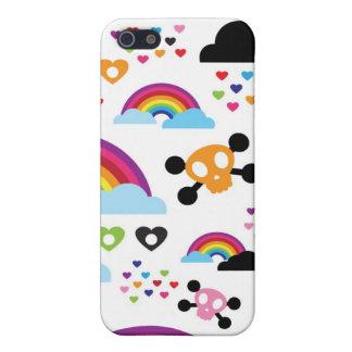 Teenage emo rainbow skull background iPhone 5/5S covers