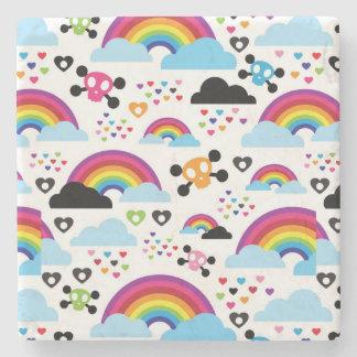 Teenage emo rainbow skull background stone coaster