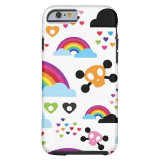 Teenage emo rainbow skull background tough iPhone 6 case