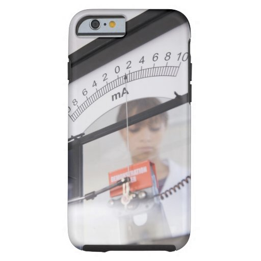 Teenage girl by science equipment iPhone 6 case