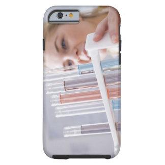 Teenage girl holding rack of test tubes tough iPhone 6 case