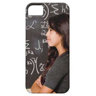 Teenage girl student at blackboard with math iPhone 5 cover