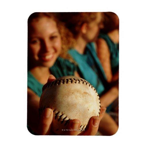 Teenage girls' softball team sitting in dugout flexible magnet