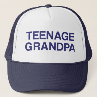TEENAGE GRANDPA fun slogan trucker hat in blue