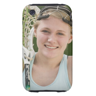 Teenaged girl holding lacrosse racket iPhone 3 tough case