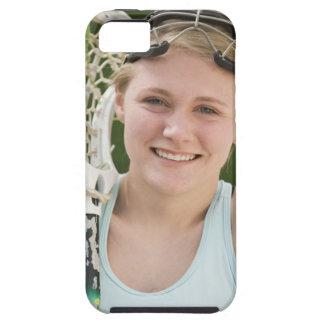 Teenaged girl holding lacrosse racket iPhone 5 cases