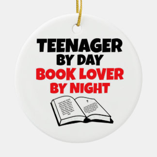 Teenager by Day Book Lover by Night Round Ceramic Decoration