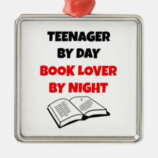 Teenager by Day Book Lover by Night Silver-Colored Square Decoration