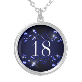 Teen's 18th Birthday Blue Black Sparkly Diamond Round Pendant Necklace