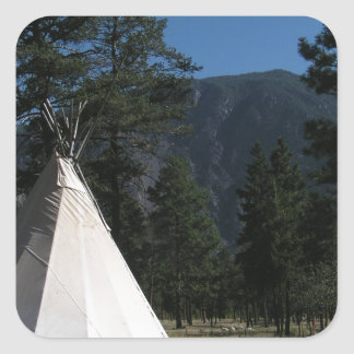 Teepee in the mountains square sticker
