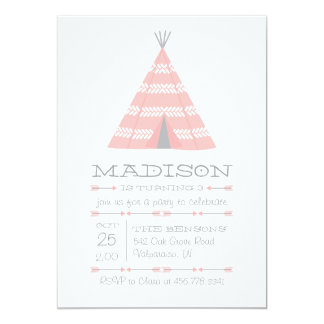 TeePee Tent Birthday Party Invite for Kids