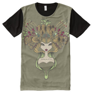 Teeshirt all over Mélusine kaki foncé All-Over Print T-Shirt