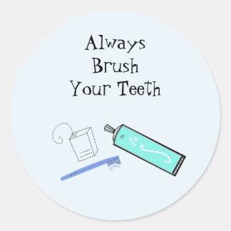 Teeth Brushing Reminder Classic Round Sticker