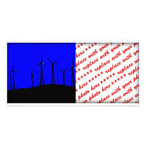 Tehacapi Wind Farm Silhouette (1) Personalized Photo Card