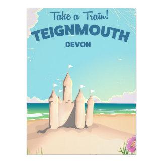 Teignmouth Beach Devon Vintage travel poster 17 Cm X 22 Cm Invitation Card