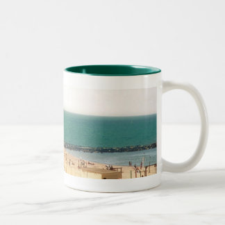 tel aviv beach Two-Tone coffee mug