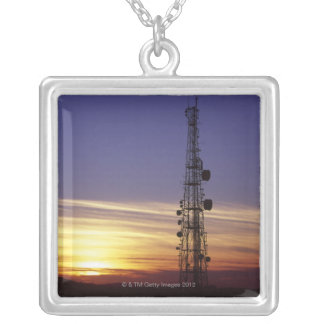 Telecommunications mast at sunset silver plated necklace