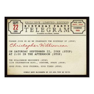 "Telegram Style Birthday Party Invitation 5"" X 7"" Invitation Card"
