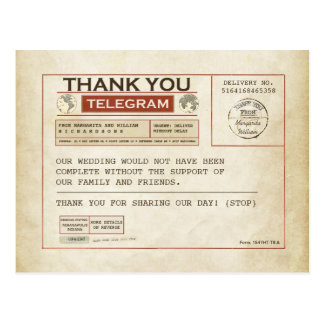 Telegram Thank you cards for wedding Postcard