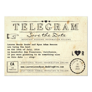 Telegram with Hearts Vintage Travel Save the Date Card
