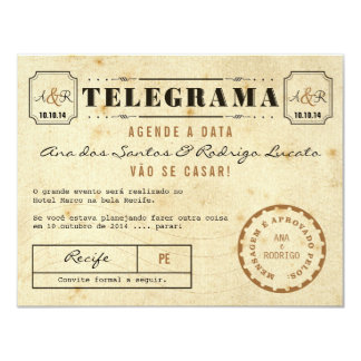 Telegrama do Vintage Agende a Data Card
