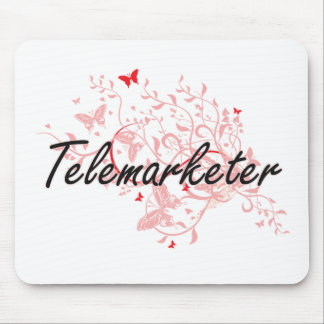 Telemarketer Artistic Job Design with Butterflies Mouse Pad