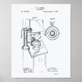 Telephone 1898 Patent Art White Paper Poster