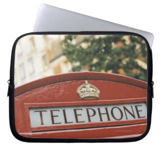 Telephone booth in London England Laptop Sleeves