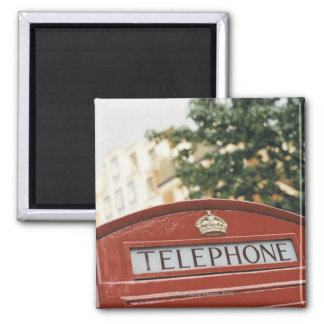Telephone booth in London England Square Magnet