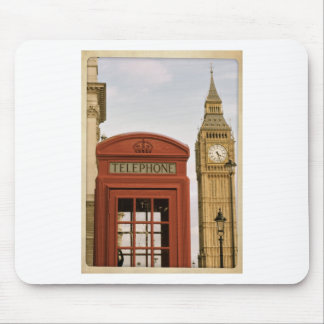 Telephone Box and Tower of Big Ben Mouse Pad