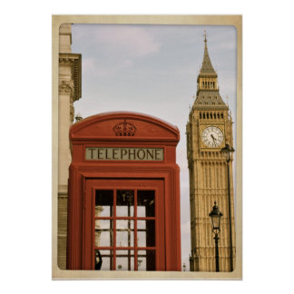 Telephone Box and Tower of Big Ben Poster