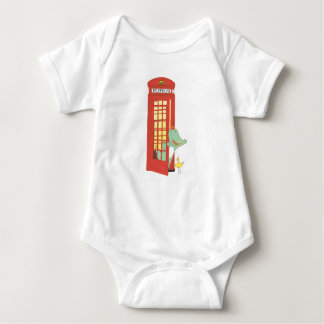Telephone box, cute animals illustration baby bodysuit